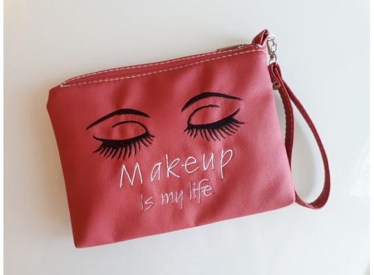 Косметичка с вышивкой Makeup is my life Розовая фото