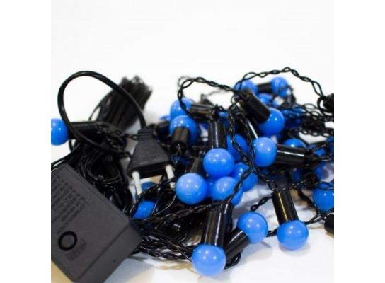Гирлянда Шарики синие 40 led на черном проводе фото