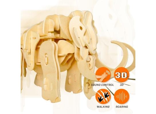 Движущиеся деревянный 3D конструктор «Мамонт» фото