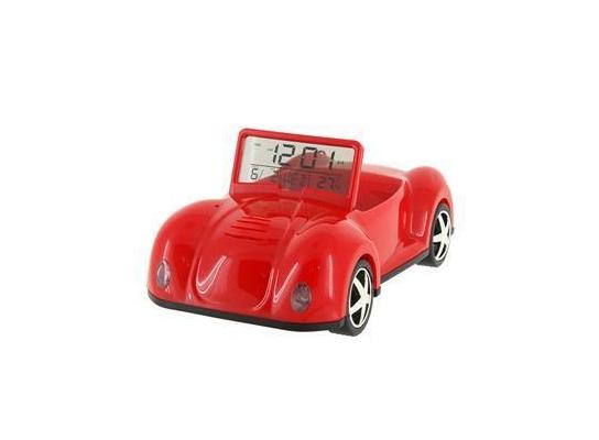 Подставка для телефона с часами Машинка красная фото