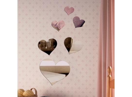 Декоративное акриловое зеркало Сердечки