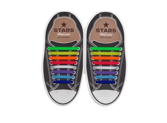 Косые cиликоновые АнтиШнурки для кроссовок и кед, 16шт. (длина: 38-68мм) фото