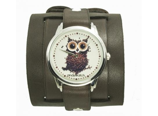 Наручные часы на эксклюзивном ремешке Сова из кофе фото