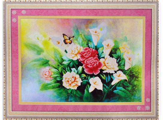 Набор для вышивки картины Бабочка в цветах 81х59см фото