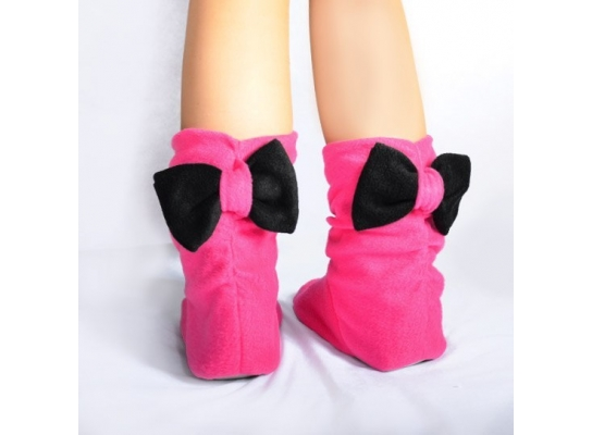 Тапочки Бантики розовые с черным бантом фото