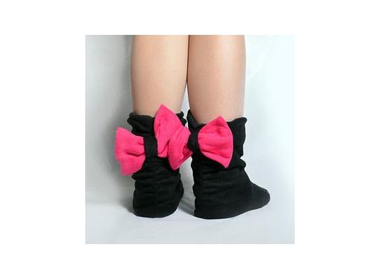 Тапочки Бантики черные с розовым бантом фото