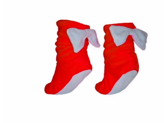 Тапочки Бантики красные с белым бантом фото