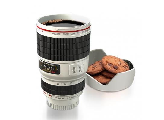 Чашка термос фотообъектив Caniam с подставкой белый фото