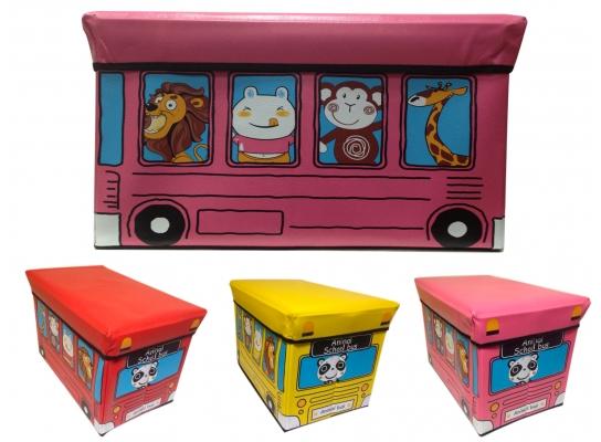 Ящик - пуфик для игрушек Веселый автобус с зверушками фото