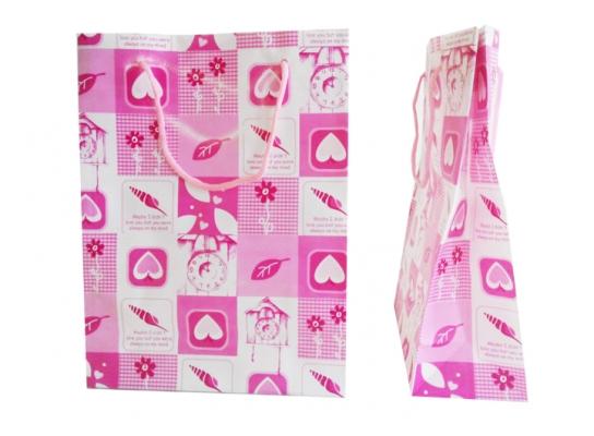 Пакет подарочный розовый Сердечки и часики 24х18х7,5 фото