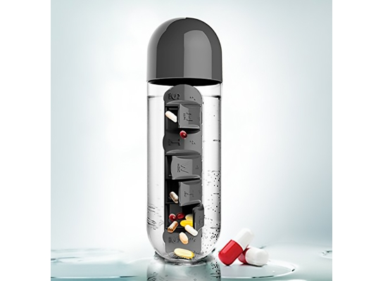Бутылка для воды с органайзером для таблеток и витаминов черная, 600мл фото
