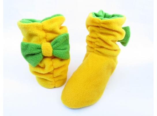 Тапочки флисовые желтые с бантом зеленым Топ-топ фото 1