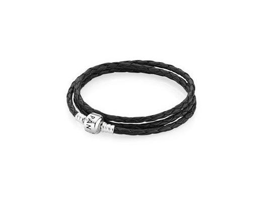 купить Черный кожаный браслет Pandora в три оборота