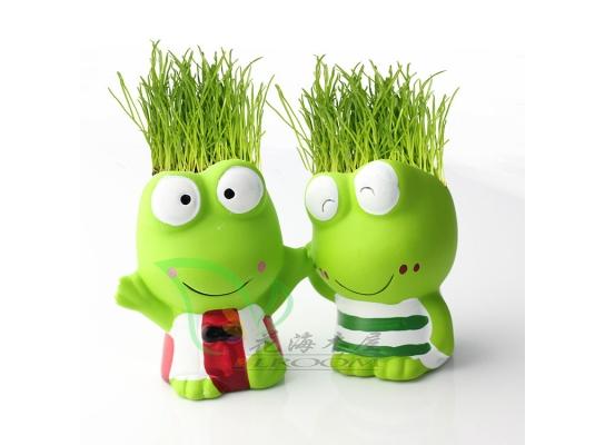 Керамический травянчик с семенами Лягушонок фото