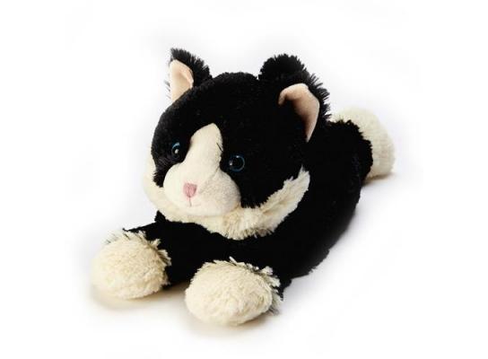 Игрушка-грелка Котенок черный, лежащий фото
