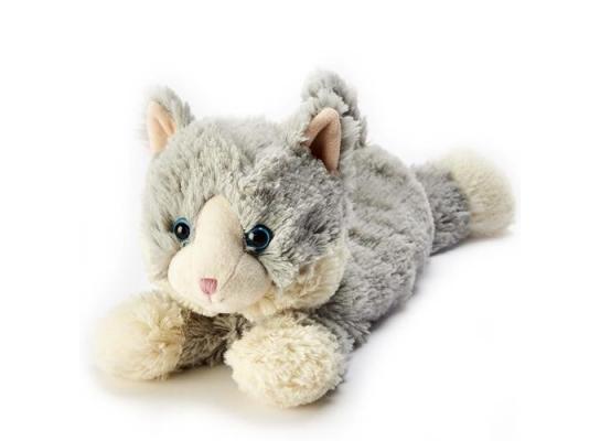 Игрушка-грелка Котенок серый, лежащий фото