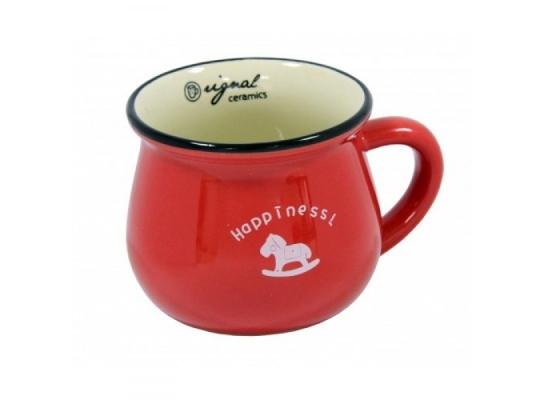 Чашка кувшин керамическая Zakka, красная, 250 мл. Щастя фото