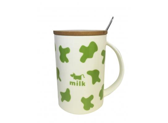 Чашка с крышкой Коровка Зеленая, 350 мл фото