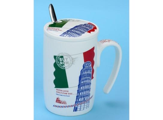 Чашка с крышкой Послание из Италии, 450 мл фото