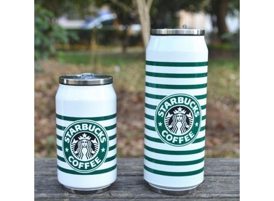 Чашка в виде банки Starbucks полосатая, 500 мл фото