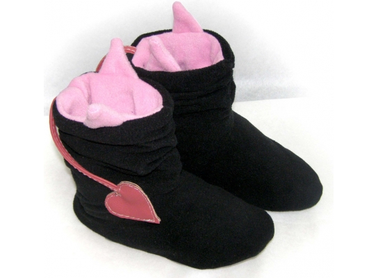 Тапочки Чертики черные с розовыми рожками фото