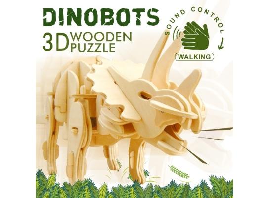 Деревянный 3D конструктор «Динозавр Трицератопс» фото