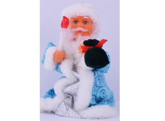 Музыкальный Дед Мороз с голубой шубкой 22 см фото