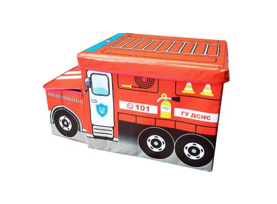 Пуф-ящик для игрушек Пожарная машина фото