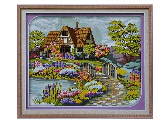 Набор для вышивки картины Цветочная Усадьба 57х46см фото