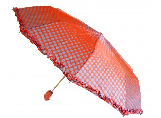 Зонт с рюшами Горошек антишторм красный фото