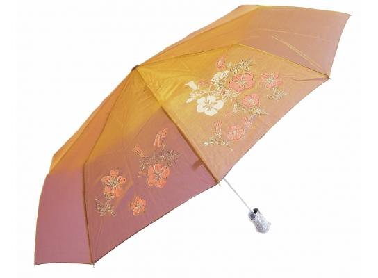 Зонт антишторм полуавтомат Цветы Хамелеон золотистый фото