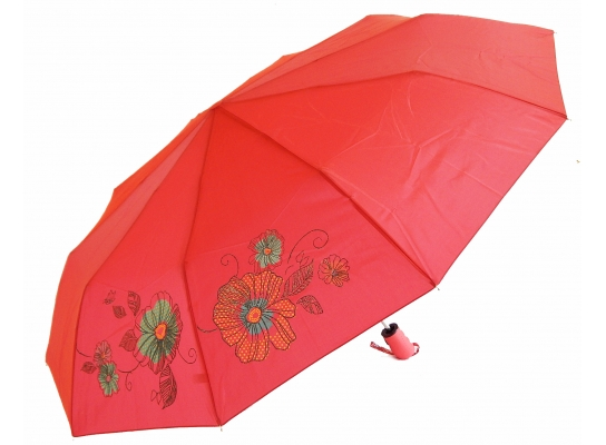 Зонт антишторм полуавтомат Цветы Хамелеон красный фото