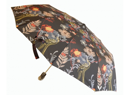 Зонт автомат Антишторм Love Rain Веселые цветы черный фото 1