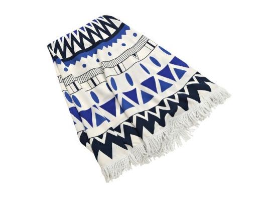 Пляжный коврик Мандала сине-черная фото