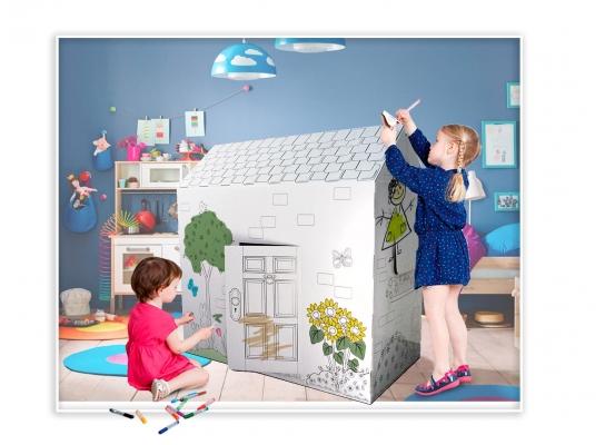 Картонный домик-раскраска фото