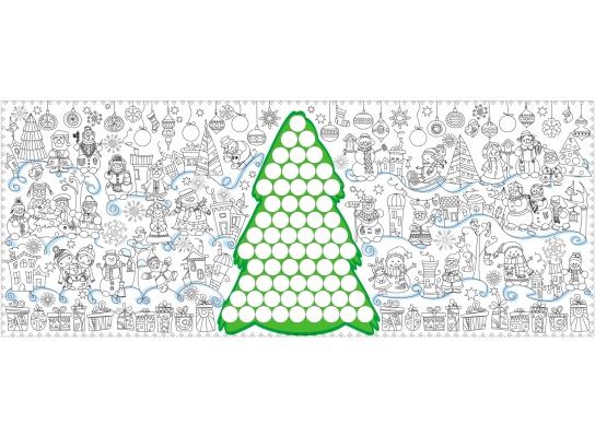 Обои - раскраски Новогодняя Елка с наклейками 60х150 фото