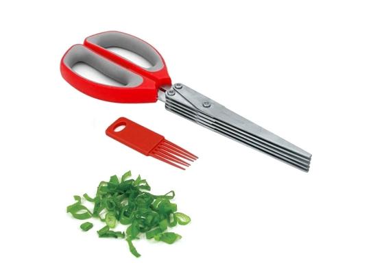 Ножницы для зелени прямая ручка 22 см Красные фото 1