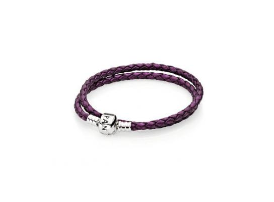 Фиолетовые кожаный браслет Pandora в два оборота