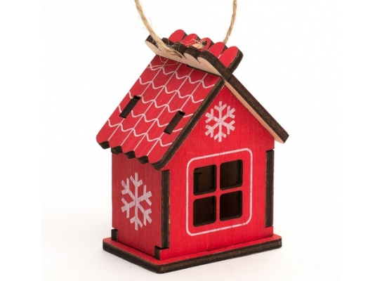 Елочная игрушка Домик красный фото