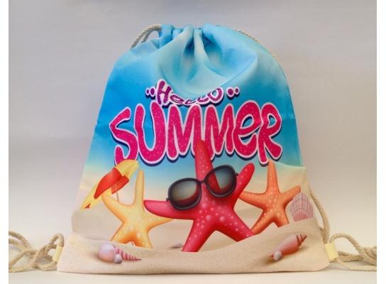 Летняя сумка-рюкзак для пляжа и прогулок Привет, лето фото