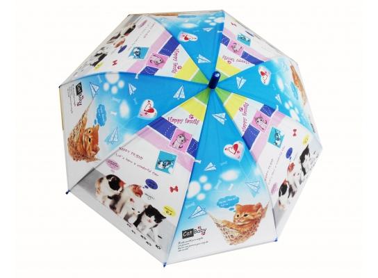 Детский зонтик Котики голубой фото
