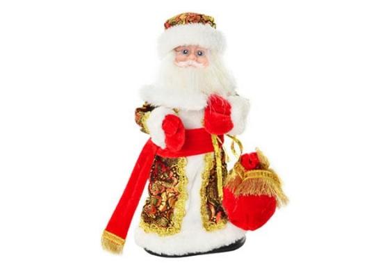 Новогодний сувенир Дед Мороз 30см Красный с узорами фото