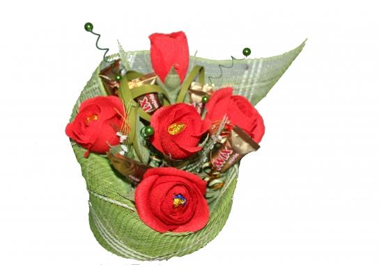Букет из конфет Красные розы фото