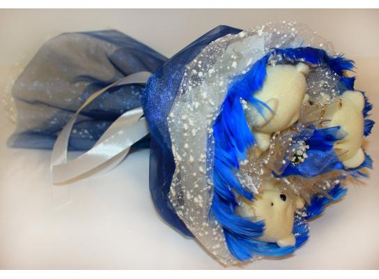 Букет из мишек Синий Иней фото