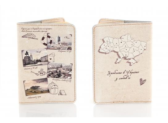 Кожаная обложка на паспорт Путешествие по Украине фото