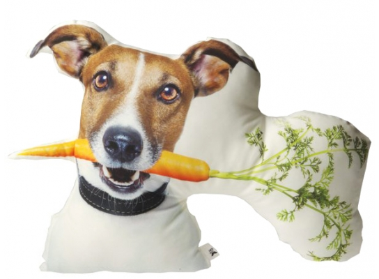 Подушка Пес Майло с морковкой фото