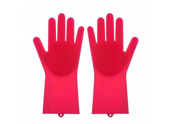 Силиконовые перчатки для уборки и мытья посуды Magic Silicone Gloves Малиновые фото