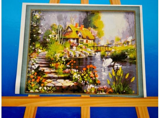 Картина на холсте по номерам Лебединый Рай фото