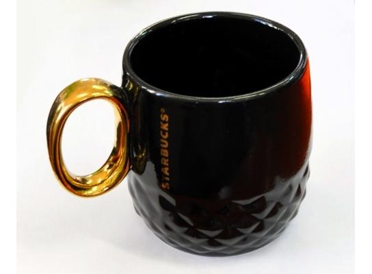 Керамическая чашка Starbucks Gold черная фото