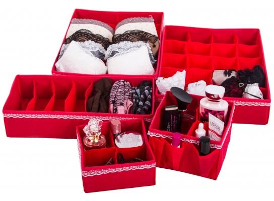 Комплект органайзеров для белья и косметики 5 шт. Кармен фото